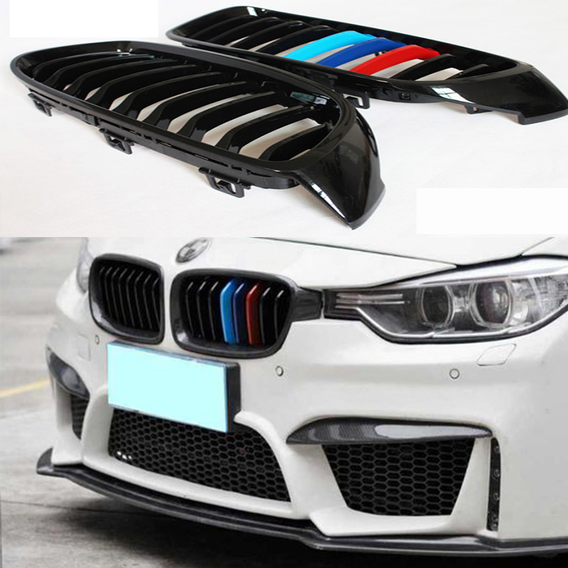 For BMW F32 F33 F36 F82 F83 M-Performance Style ABS Car Front Bumper Mesh Grill Grille 2014-2016 4 series f32 f33 f36 front bumper grill gloss black abs car styling grille for bmw f80 m3 f82 f83 m4 replacement car part