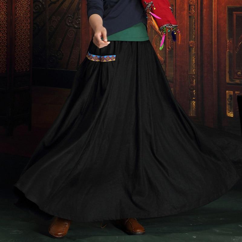 Femelle Coton Xxxxxl National Longue Plis 6xl Conceptions Linge Noir Casual Automne Plus 2018 Jupes Jupe La maxi Taille 5xl Femmes xO1zq