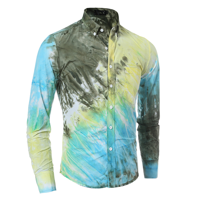 Brand 2017 Men'S Fashion Chemise Homme Three-Mile Color Tie-Dye Chemise Homme Men Shirt Leisure Camisa Masculina 2XL