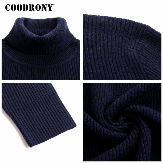 COODRONY Mens Sweaters 2018 Autumn Winter Thick Warm Pullover Men Knitted Cashmere Wool Sweater Men Heavy Turtleneck Jumper 8229 5