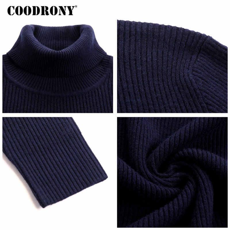 Coodrony mens 스웨터 2018 가을 겨울 두꺼운 따뜻한 풀오버 남자 니트 캐시미어 울 스웨터 남자 무거운 터틀넥 점퍼 8229