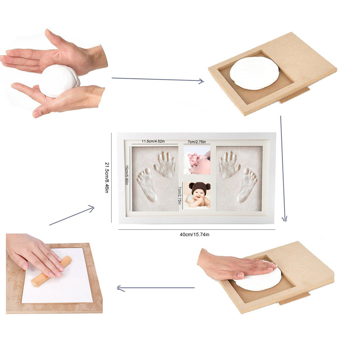 Rose bricolage Photo cadre nouveau-né bébé empreinte de main sans encre tactile Pad fille/garçon bébé douche cadeau décoration - 3