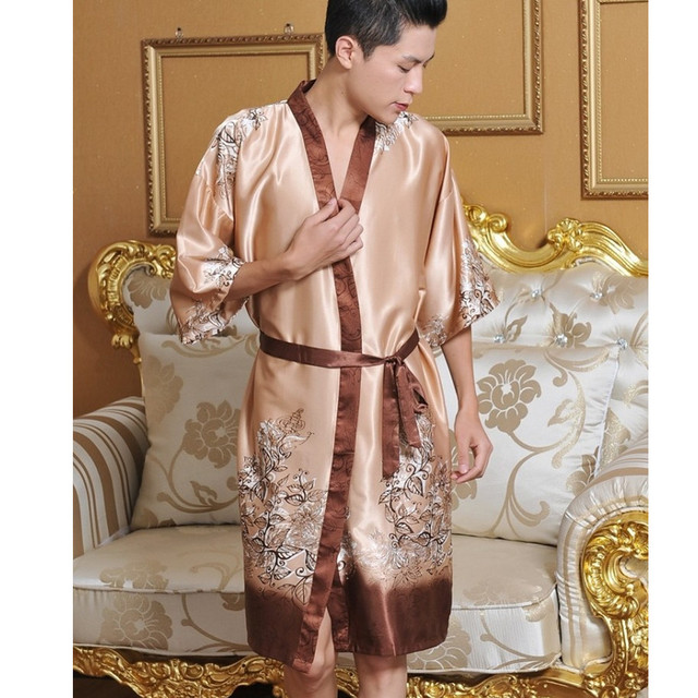4ad3d0014d New Arrival Chinese Men Silk Robe Traditional Printed Nightwear Novelty  Kaftan Kimono Bath Gown Unisex Pajama