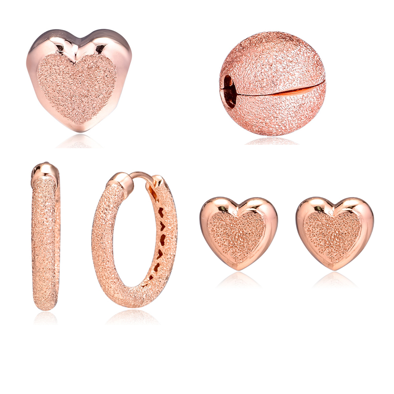 Matte Brilliance Heart Beads Clip Charm Stud Heart Earrings and Round Earrings for Women Gift DIY Fine JewelryMatte Brilliance Heart Beads Clip Charm Stud Heart Earrings and Round Earrings for Women Gift DIY Fine Jewelry