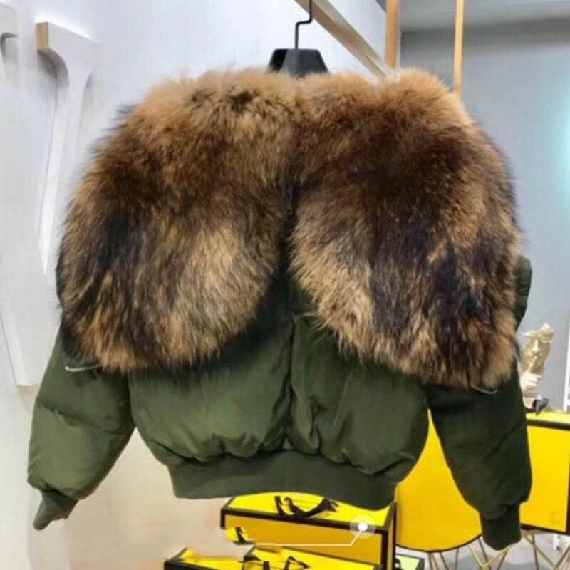 Women Fashion Duck Down With Big Raccoon Fur Collar Hoody Short Style Army Green Ladies Big Fur Turn Down Collar Winter Parka