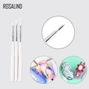 Белая щетка для ногтей ROSALIND 3 шт./лот, для УФ-гель-лака, Мягкие кисточки для маникюра, маленькая картина, узор для ногтей, ручка для дизайна ногтей