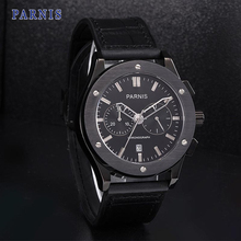 42mm Parnis Watch Black Dial with Silver Mark Pvd Case P6025 Chronograph Movement Automatic Men s