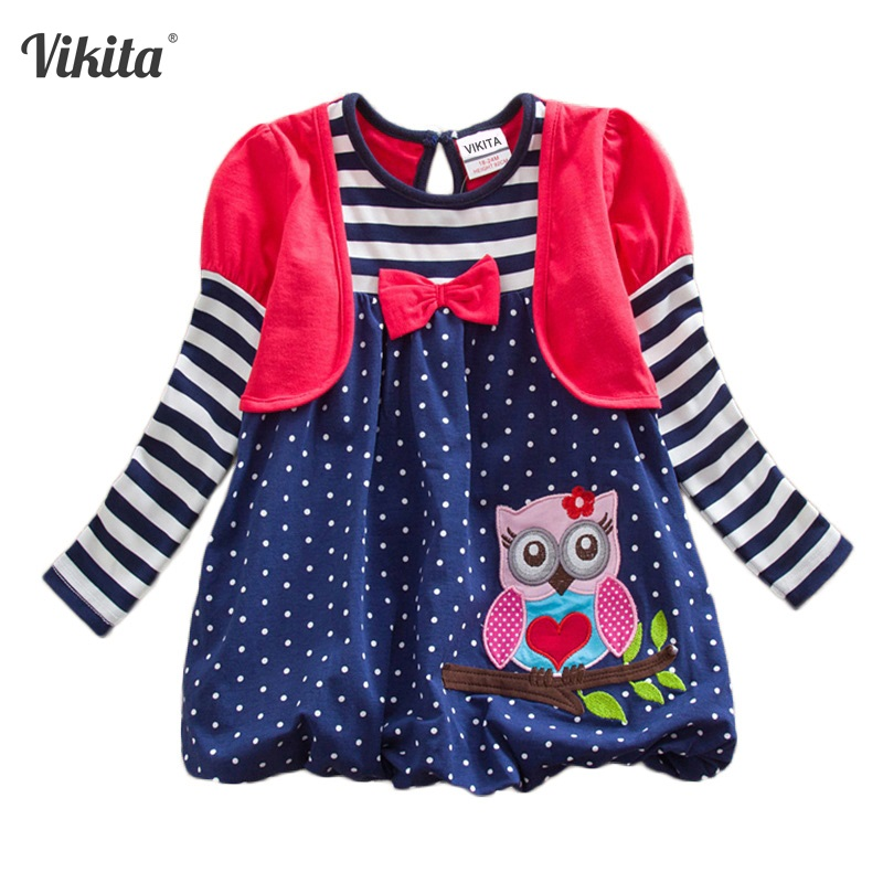 купить VIKITA Girls Dresses Animal Owl Children's Dresses Striped Dot Bow Knot Children Clothing Long Sleeve Kids Dresses LG006 по цене 597.7 рублей