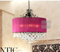 New Modern Crystal Living Room Chain Pendant light Free Shipping Gauze lampshade Crystal Decorated Bedroom Pendant lamp