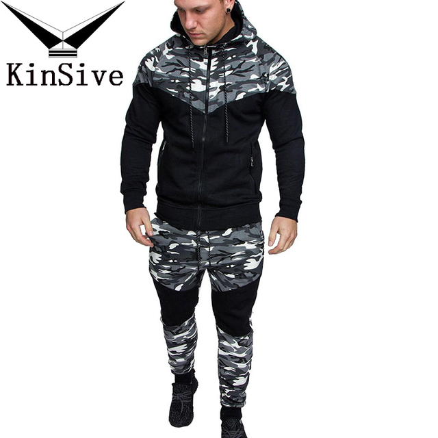 239557ffee00 Men 2 Two Piece Set Causal Patchwork Jacket Men Tracksuit Sportswear Camouflage  Printed Hoodies Sweatshirt Pants Jogger Suit