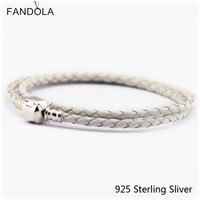 Lederen Armbanden Sieraden Grey Ketting Authentieke 925 Sterling Zilveren Sluiting Clip DIY Geschikt Voor Europese Kralen En Bedels CKK