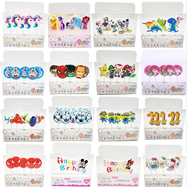 5pcs Unicorn Moana Minions Emoji Hello Kitty Spiderman Party Supplies Kids Birthday Candles Cake Evening Decorations