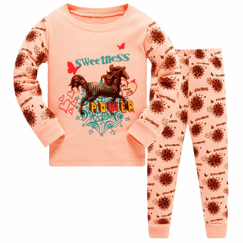 1SET 8R-131, Horse Children girls   pajamas     sets  , long sleeve sleepwear suit for 3-8Y