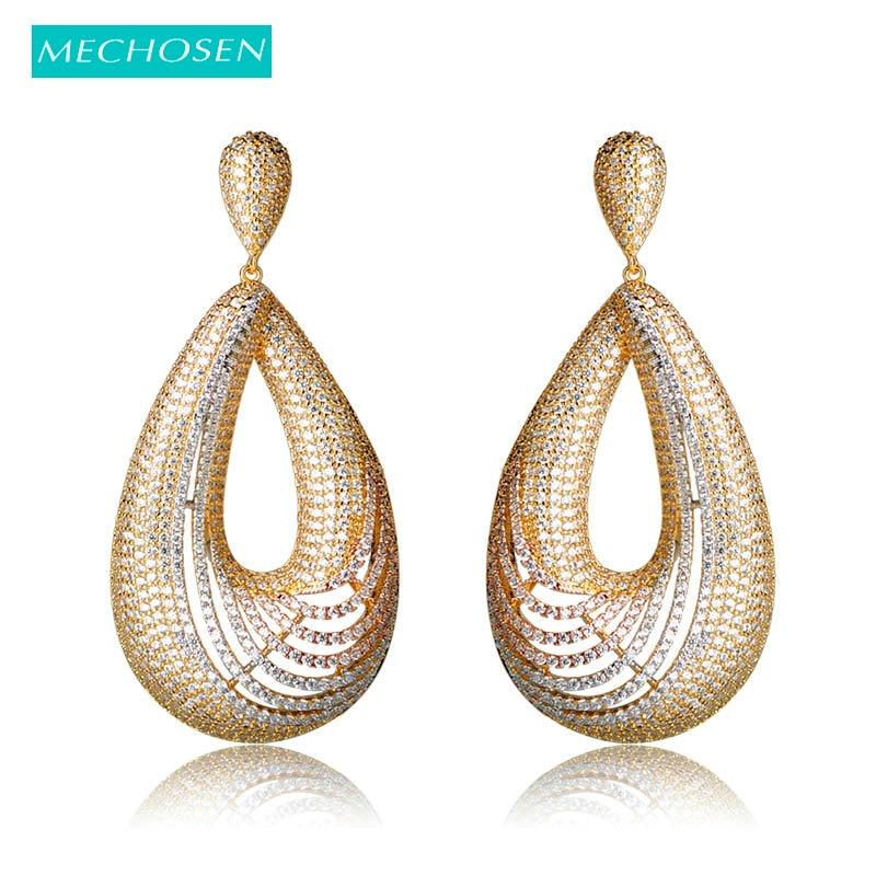 все цены на MECHOSEN Luxury Cubic Zirconia Water Drop Earrings 3 Tones Gold Color Big Oorbellen Women Bridal Nigerian Wedding Jewelry Brinco