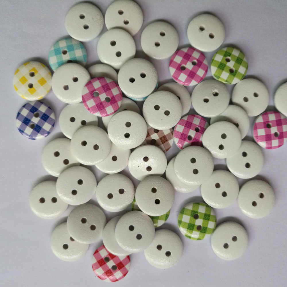 100Pcs Novelty Baby Buttons Wood Wooden Buttons Sewing Card making 13mm 15mm