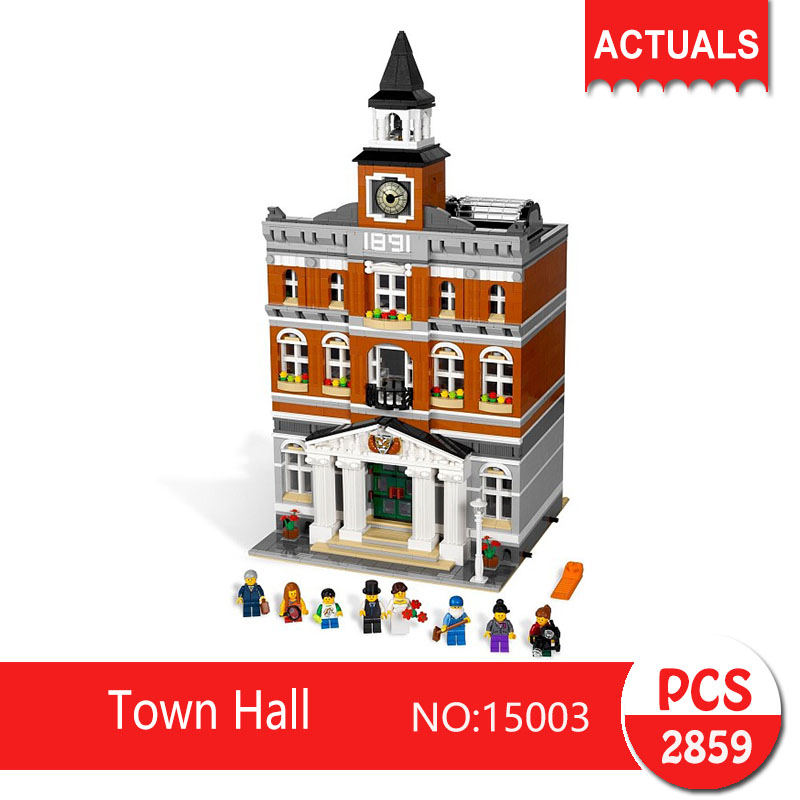 Lepin 15003 2859Pcs Street View series Town Hall  Model Building Blocks Set  Bricks Toys For Children Gift 15003 lepin 15003 2859pcs city creator town hall sets model building kits set blocks toys for children compatible with 10024