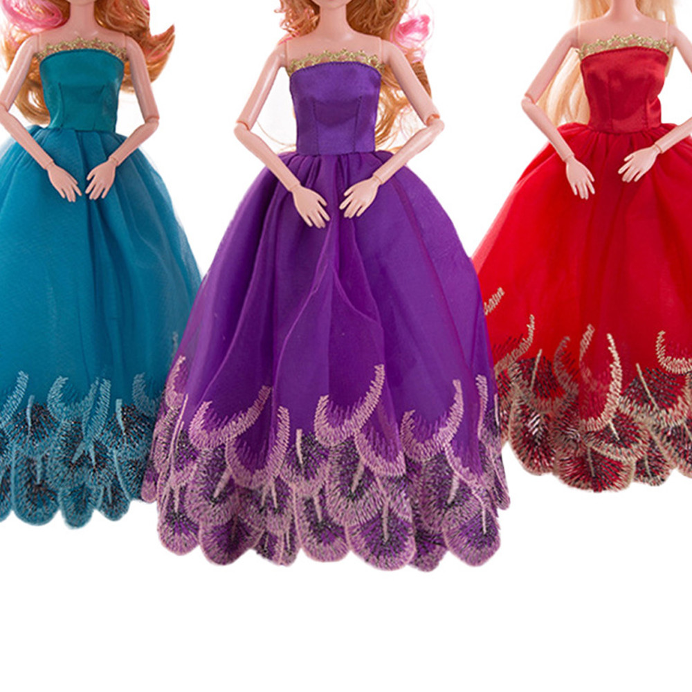 3pcs Pure Evening Party Wedding Dress Clothes For Barbie Doll Accessory Girl Fashion Clothing For American Girl Dolls MA20f