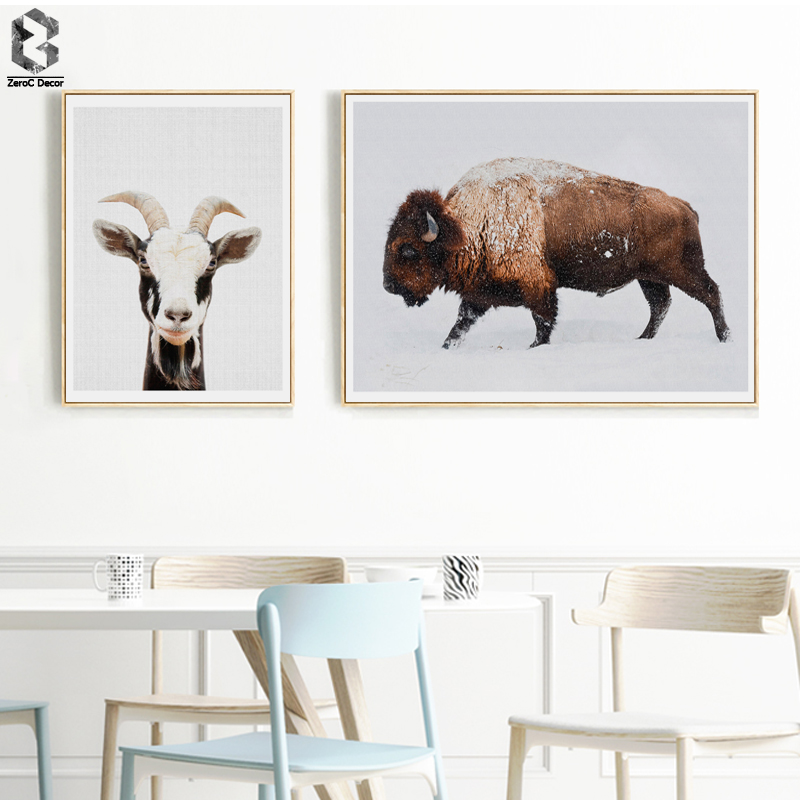 Goat Canvas Painting Nursery Wall Art Highland Cattle Poster and Print Nordic Lovely Animal Picture for Living Room Home Decor