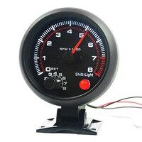 BYGD 3 75 Inch 95MM 12V Black Shell White Backlight Car Tachometer Gauge Warning Speedometer 0