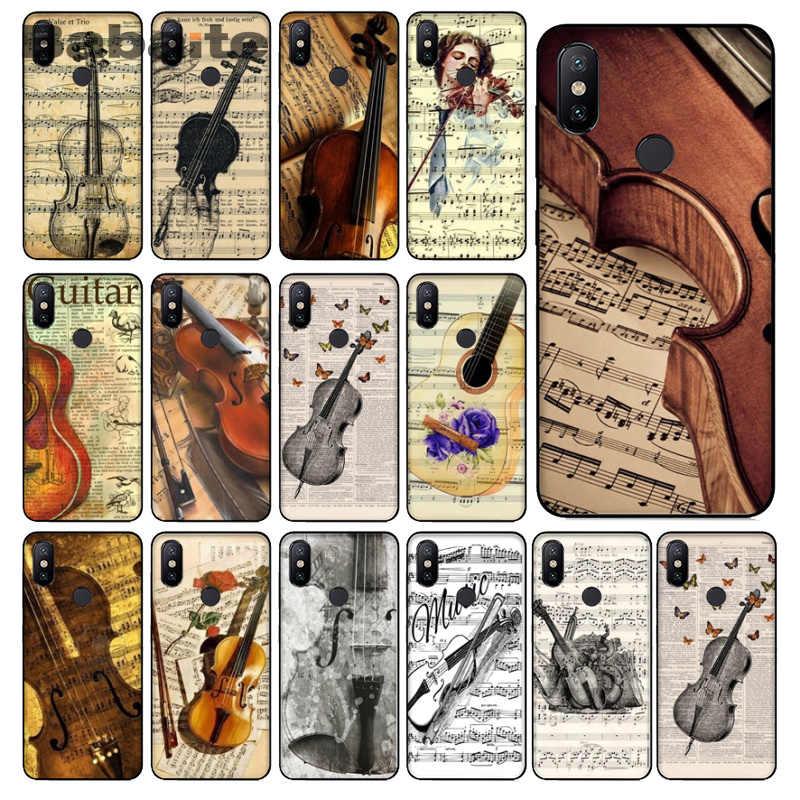 Partition musicale instrument de musique violon guitare souple en caoutchouc noir étui de téléphone pour xiaomi MAX2/3 Note2 3 Redmi5 Redmi 5 plus MI8 mi6
