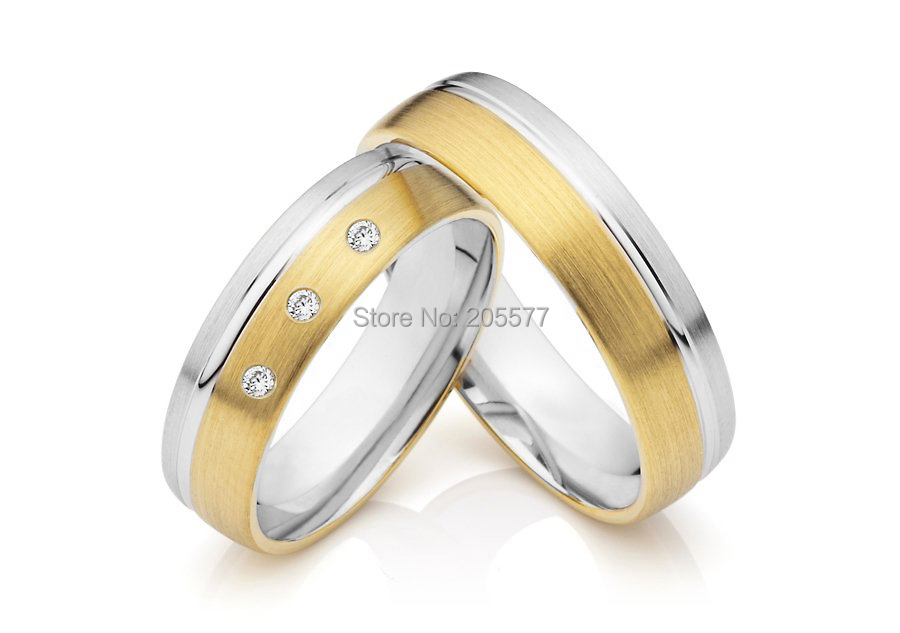 custom gold plating bicolor titanium cz couples wedding bands rings pair sets anel de casamento anel de prata his and hers rings white gold plating pure titanium engagement wedding bands rings 2014