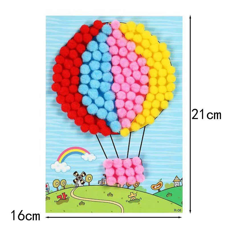 DIY Hairball กระดาษภาพวาดอนุบาลของเล่นวัสดุแพคเกจของเล่นเด็กของเล่นสาวงานฝีมืองานฝีมือเด็ก-35