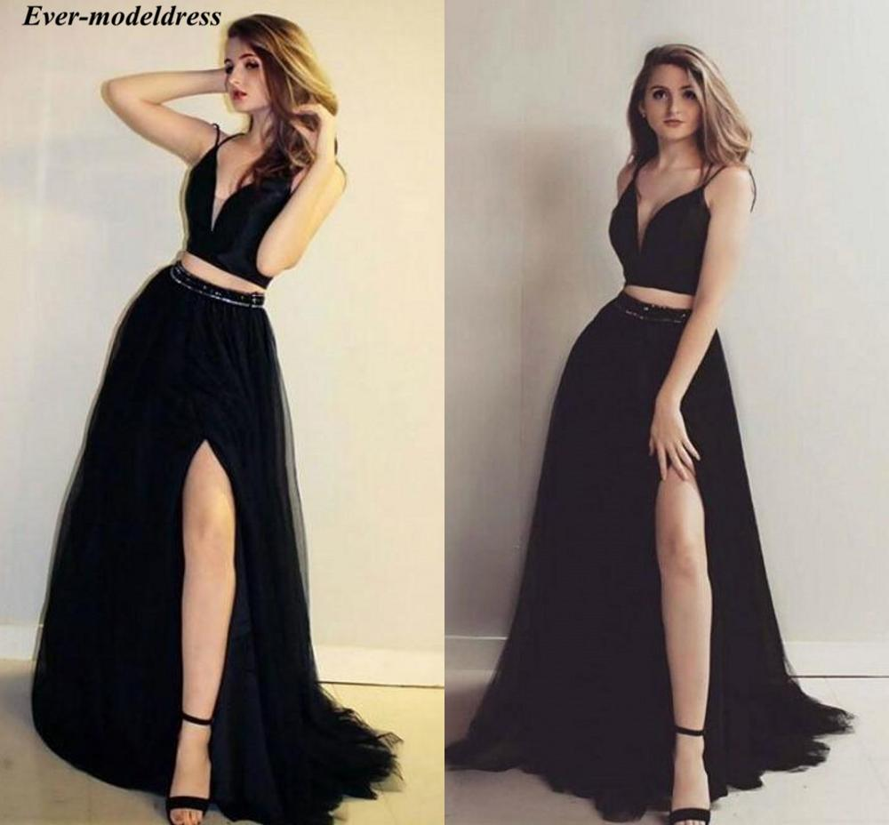 Two Pieces Black   Prom     Dresses   2019 Long Side Split Spaghetti Straps Beaded Sweep Train Formal Party Gowns Vestidos De Festa
