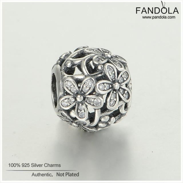 Fits Pandora Bracelets 100% 925 Sterling Silver Daisy Flower Charms Beads With Clear CZ DIY Fine Jewelry Free Shipping