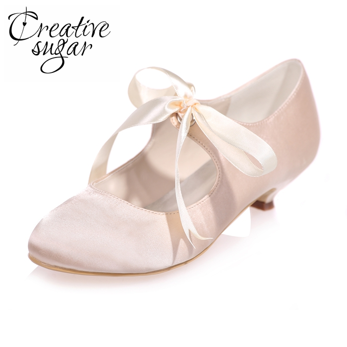 Creativesugar Comfortable ribbon tie lace up mary jane low heel woman satin evening dress shoes prom wedding bridal heels colors