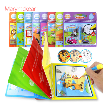 1 Pcs Drawing Book 8 Type Cute Themes Kids Educational Toy Magic Water Drawing Book Drawing Cardboard with 1 Pcs Water Pen 1