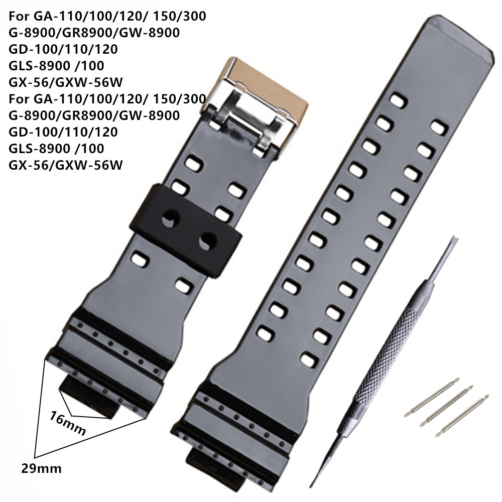 New Brand 16mm Black Watch Strap For <font><b>DW</b></font>-5600 <font><b>DW</b></font>-<font><b>5700</b></font> G-8900 GD110 GA110 Watch Band +Tool image