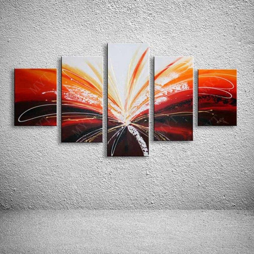 100% peintures murales peintes à la main 5 panneaux comme 1 ensemble simple abstraite moderne toile peinture à l'huile en groupe pour la décoration intérieure