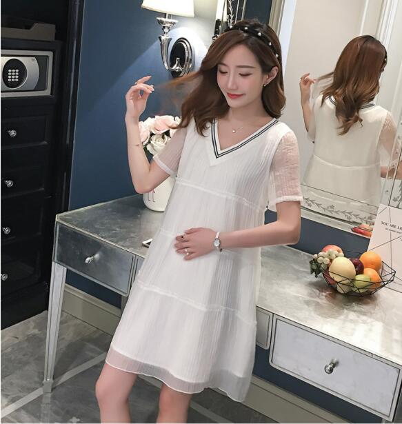 Maternity dresses women pregnancy clothing for summer ladies pregnant dress chiffon cotton nursing clothes outdoor loose skirt