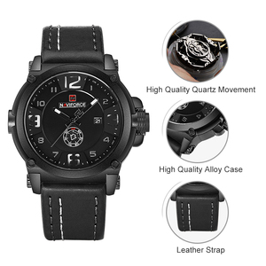 Image 4 - NAVIFORCE 탑 럭셔리 브랜드 남자 스포츠 밀리터리 쿼츠 시계 남자 아날로그 날짜 시계 가죽 스트랩 손목 시계 Relogio Masculino