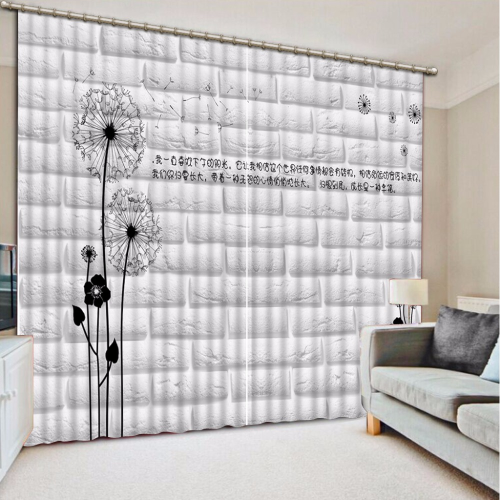 Modern 3D Curtains For Living Room Bedroom dandelion design Fashion simple White Curtains Window Curtains Drapes Modern 3D Curtains For Living Room Bedroom dandelion design Fashion simple White Curtains Window Curtains Drapes