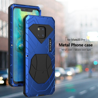 For Huawei Mate 20 Pro Phone Case Hard Aluminum Metal Tempered Glass Screen Protector Full Cover Heavy Duty Protection Silicon