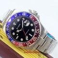 Мужские механические наручные часы с черным циферблатом Bliger 43 мм  светящиеся стрелки  окошко даты  сапфировое стекло  стальной корпус GMT