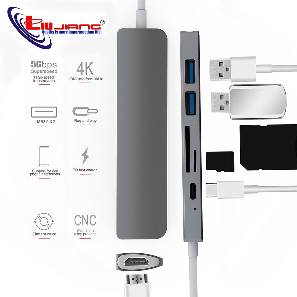 USB Type C HUB Thunderbolt 3 Adapter USB-C HDMI 4K PD USB 3.0 Micro SD TF Card for MacBook Pro Samsung S9 Huawei Mate 20 P20