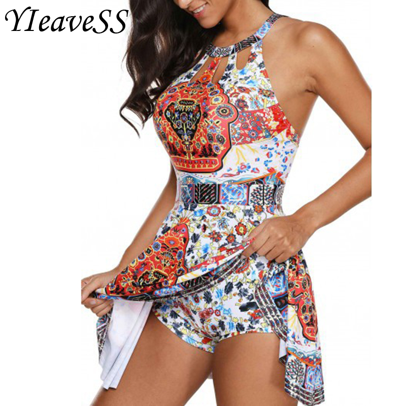 YIEAVESS 2018 Tankini Plus Size Women Swimwear Two Piece Printed Halter Swimsuit