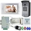 Hot Sale! 7 inch Video Door Phone Intercom Doorbell System Kit Set With Electric Lock+1 RFID Access IR Camera+12V Power Supply