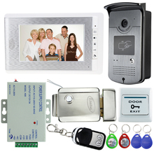 Hot Sale! 7 inch Video Door Phone Intercom Doorbell System Kit Set With Electric Lock+1 RFID Access IR Camera+12V Power Supply