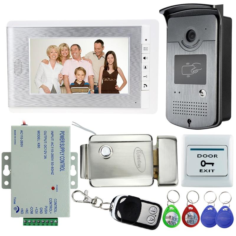 Vente chaude! 7 pouce Vidéo Porte Téléphone Interphone Sonnette Système Kit Set Avec Serrure Électrique + 1 RFID Accès IR Caméra + 12 V Alimentation