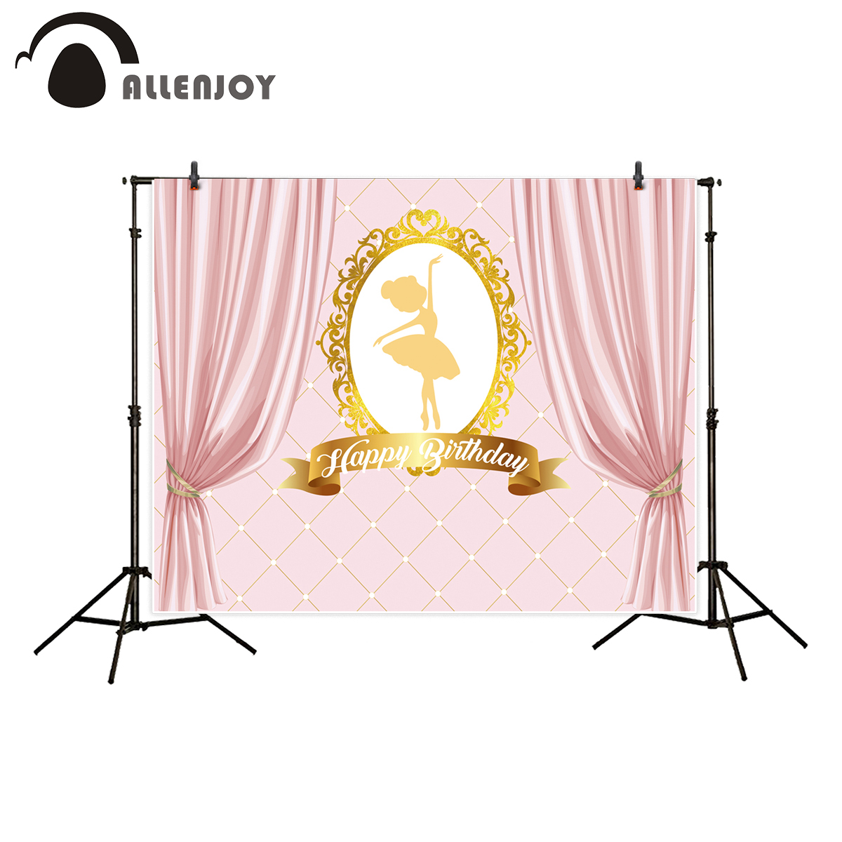Allenjoy background for photo studio Ballerina girl theme birthday party pink photography backdrop printed new photography children s background birthday vintage bear balloons garland digital printing party send folded studio photo prop