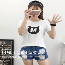 2017 Korean Women Summer T Shirt The cat M Letter Printed Fashion Solid Short Sleeve Top Tees O Neck Casual T-shirts shirt