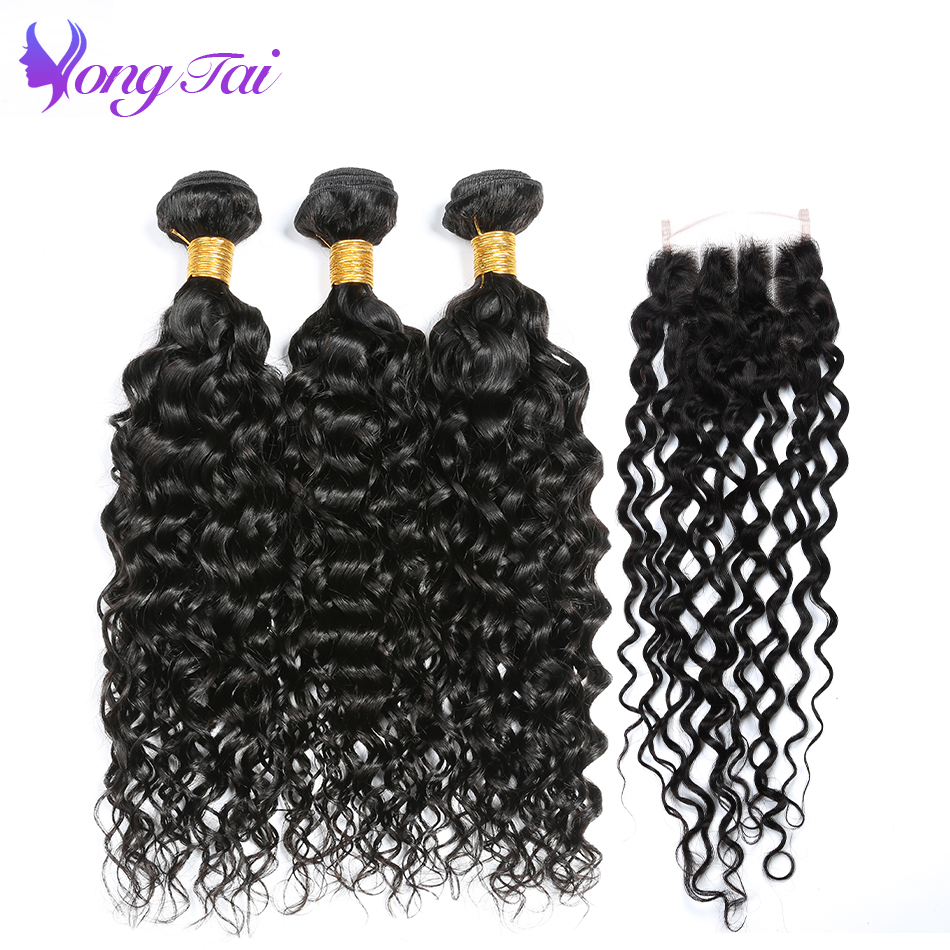 Water Wave Bundles With Closure Malaysian Human Hair Extension With 4 4 Closure Yongtai Hair Weave