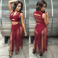 Fashion 2 Pieces Bandage Crop Top And Long Tassel Bottom Clubwear Sexy Cut Out Tank Sleeve