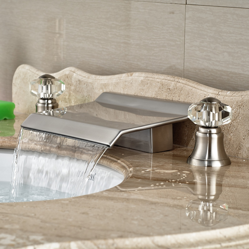Water Faucet Bathroom : Luxury Brass Bathroom Basin sink Mixer Tap Waterfall Water Faucet Dual ...