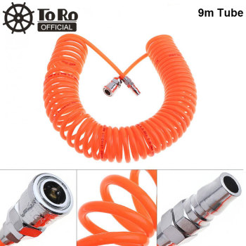 цена на TORO 9M 5 x 8mm Flexible PU Recoil Hose Spring Tube with Fast Interface and Thicker Trachea Fit for Compressor Air Tool