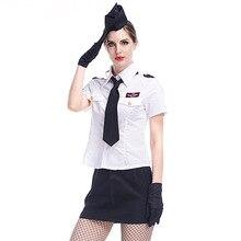 Umorden Female Pilot Aviator Costume for Women White Sexy Flight Attendant Air Hostess Costumes Uniform Fantasia Halloween Dress