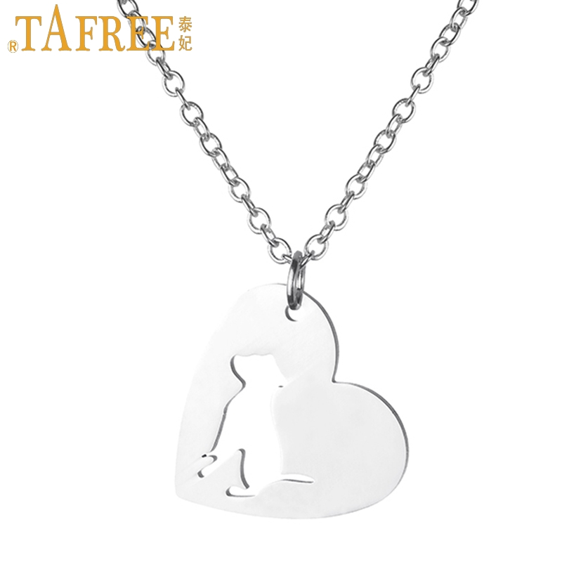 TAFREE women fashion Heart-shaped pendant bulldog statement necklace stainless steel pet dog lover animal charms jewelry SKU01